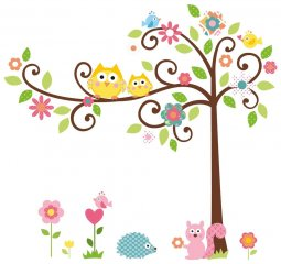 cute-owl-scroll-tree-branch-3d-wall-decals-removable-decoration-ideas